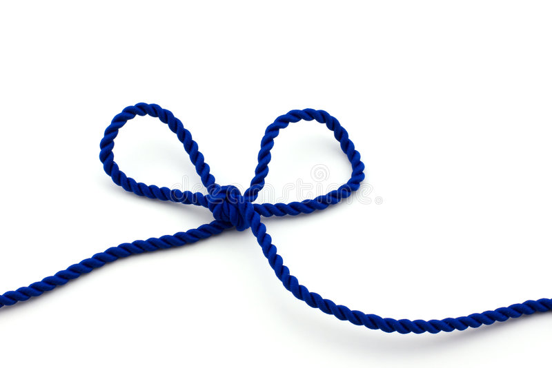 Blue rope tied in a bow, isolated stock image