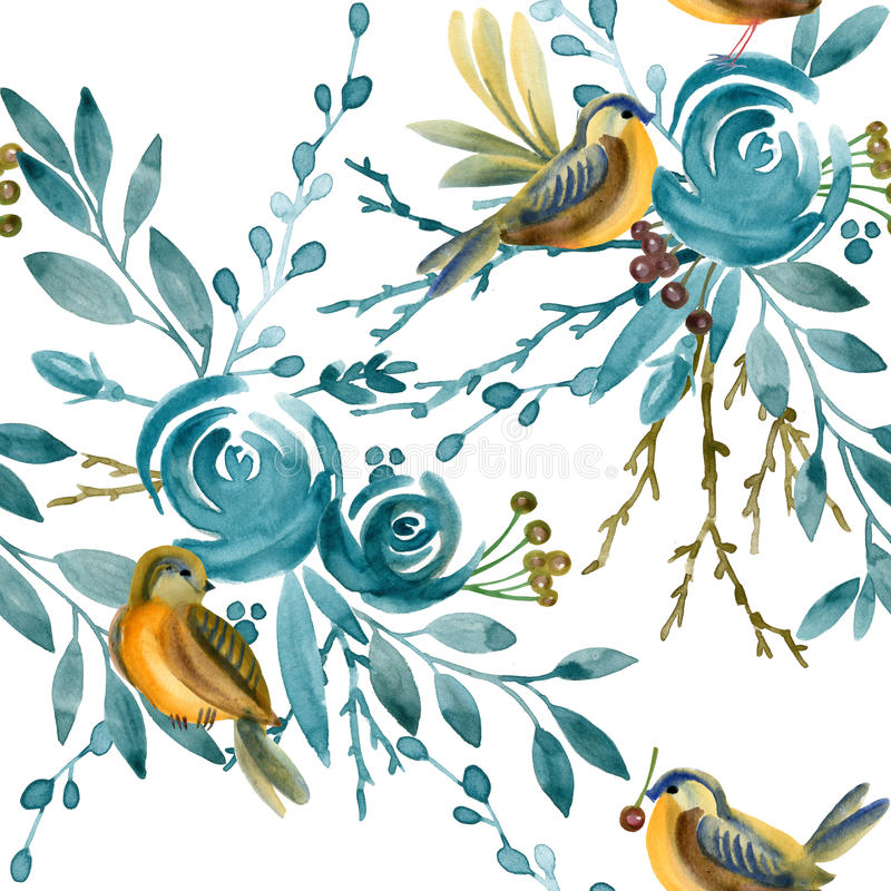 Blue rose and bird seamless pattern. royalty free illustration