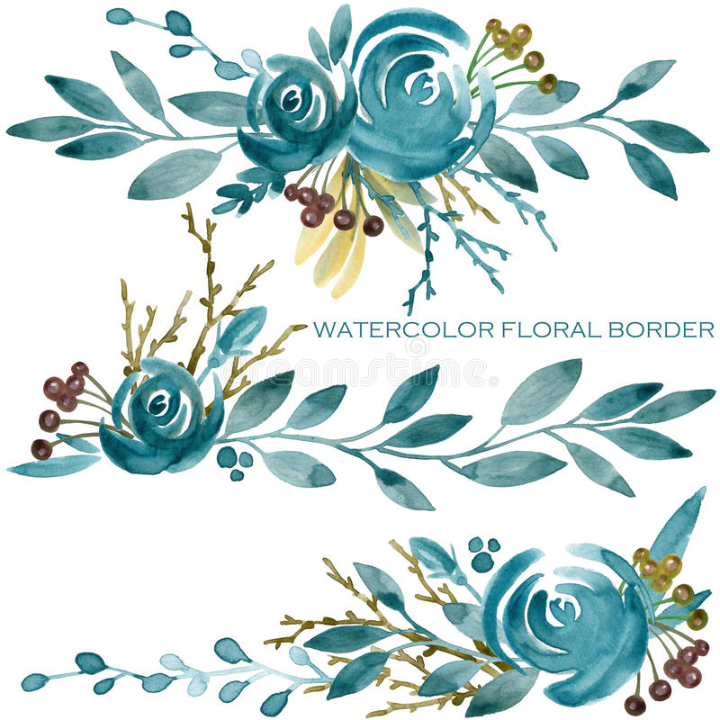Download Blue Rose Border Watercolor Illustration Stock