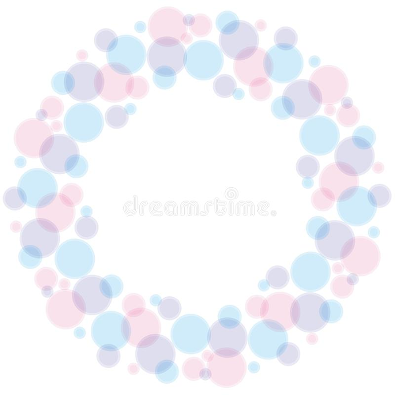 Blue and rose color abstract bubble wreath royalty free illustration