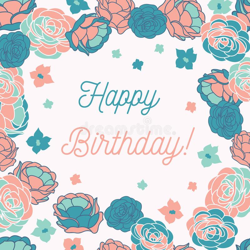 Blue rose garden ditsy floral Happy Birthday vector greeting card vector illustration