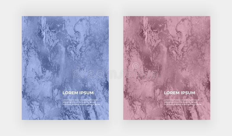 Blue and rose gold foil and marble texture. Liquid ink painting abstract pattern. Trendy background for wallpaper, flyer, poster, stock illustration
