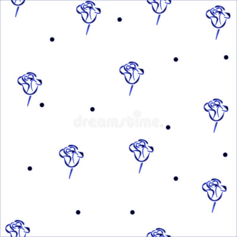 Blue rose seamless  on a white background stock illustration