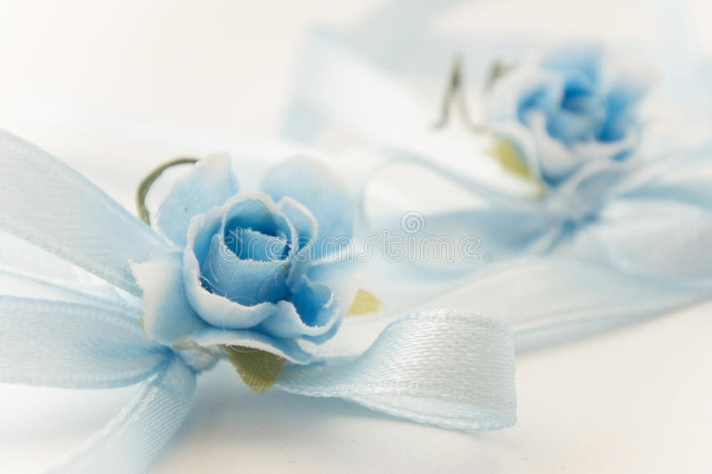 Blue roses baby boy birth. Blue flowers bouquet for birth or baptism royalty free stock photo