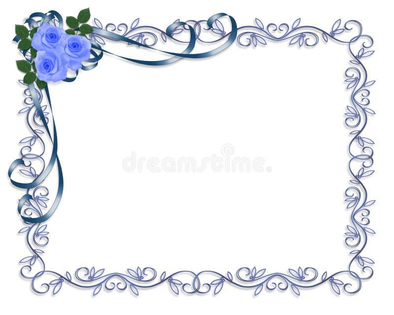 Blue Roses Wedding invitation Border vector illustration