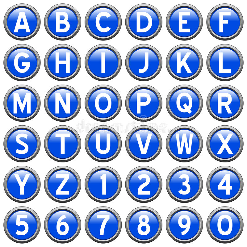 Blue Round Alphabet Buttons. Blue alphabet & numbers round buttons isolated on white background. Each button is 750x750 pixels vector illustration