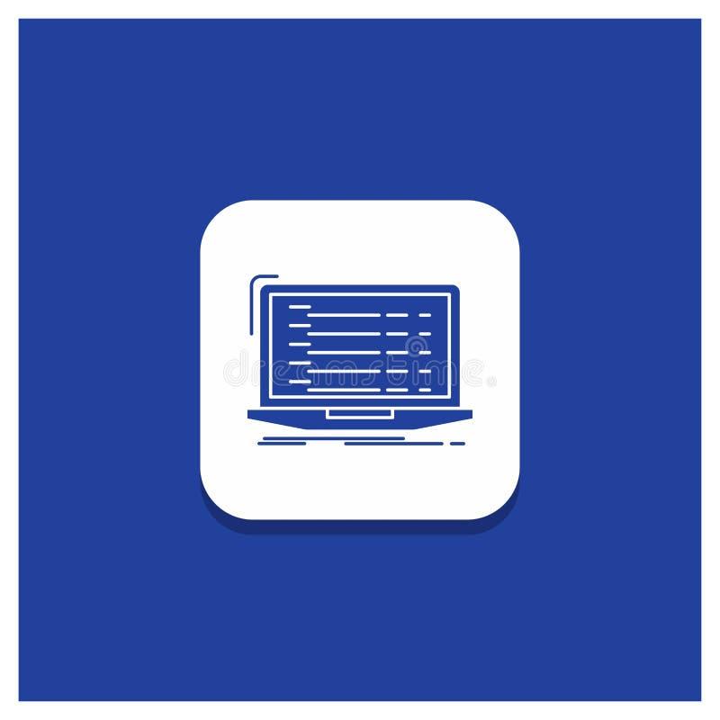 Blue Round Button for Api, app, coding, developer, laptop Glyph icon stock illustration