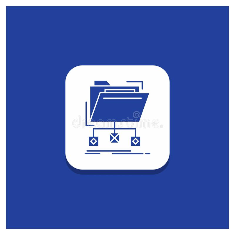 Blue Round Button for backup, data, files, folder, network Glyph icon stock illustration