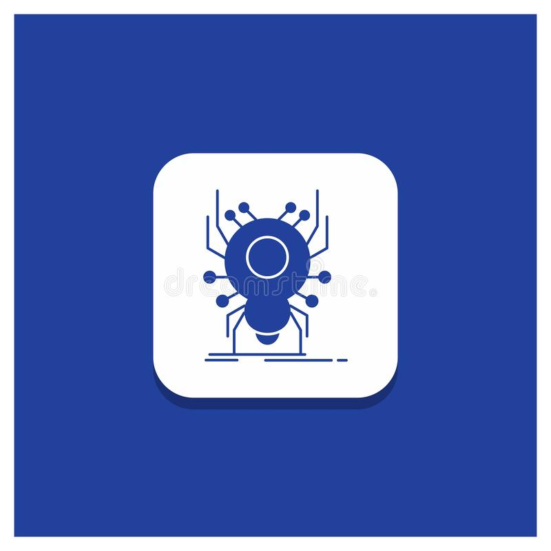Blue Round Button for Bug, insect, spider, virus, App Glyph icon vector illustration
