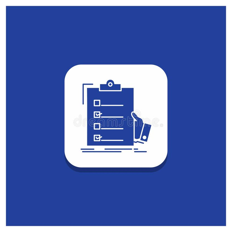 Blue Round Button for checklist, check, expertise, list, clipboard Glyph icon vector illustration