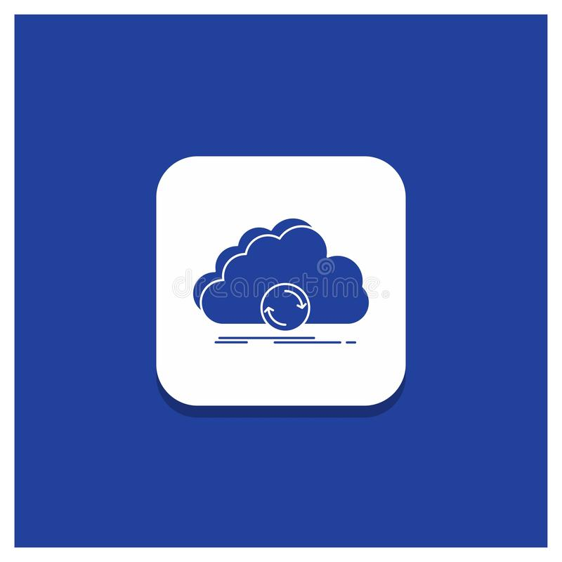 Blue Round Button for cloud, syncing, sync, data, synchronization Glyph icon stock illustration