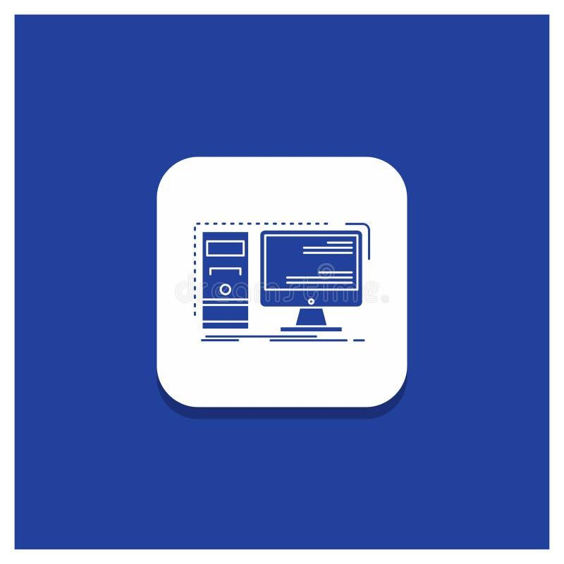 Blue Round Button for Computer, desktop, hardware, workstation, System Glyph icon vector illustration