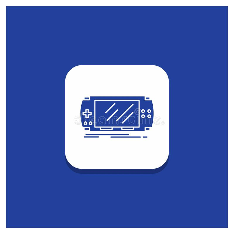 Blue Round Button for Console, device, game, gaming, psp Glyph icon. Vector EPS10 Abstract Template background vector illustration