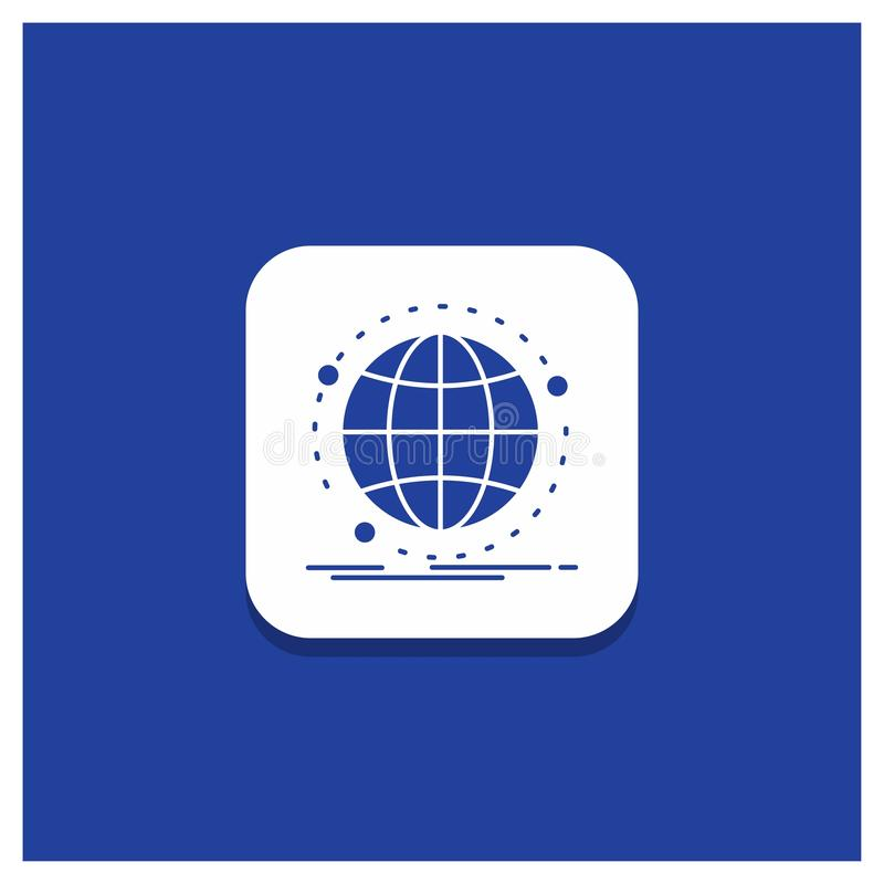 Blue Round Button for Data, global, internet, network, web Glyph icon stock illustration
