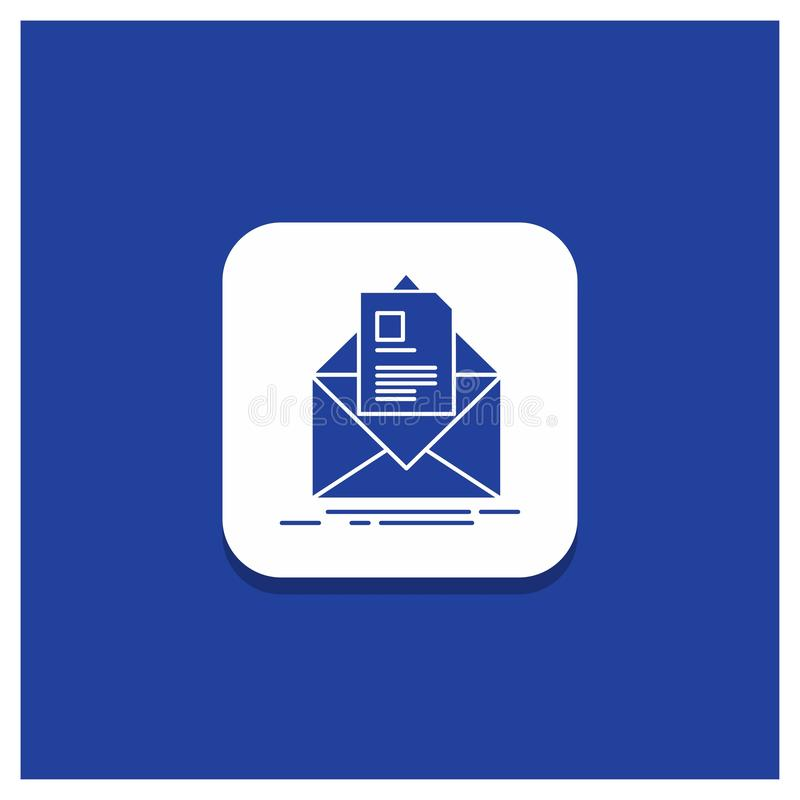 Blue Round Button for mail, contract, letter, email, briefing Glyph icon royalty free illustration
