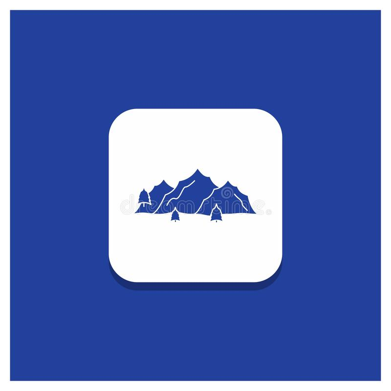 Blue Round Button for mountain, landscape, hill, nature, tree Glyph icon stock illustration