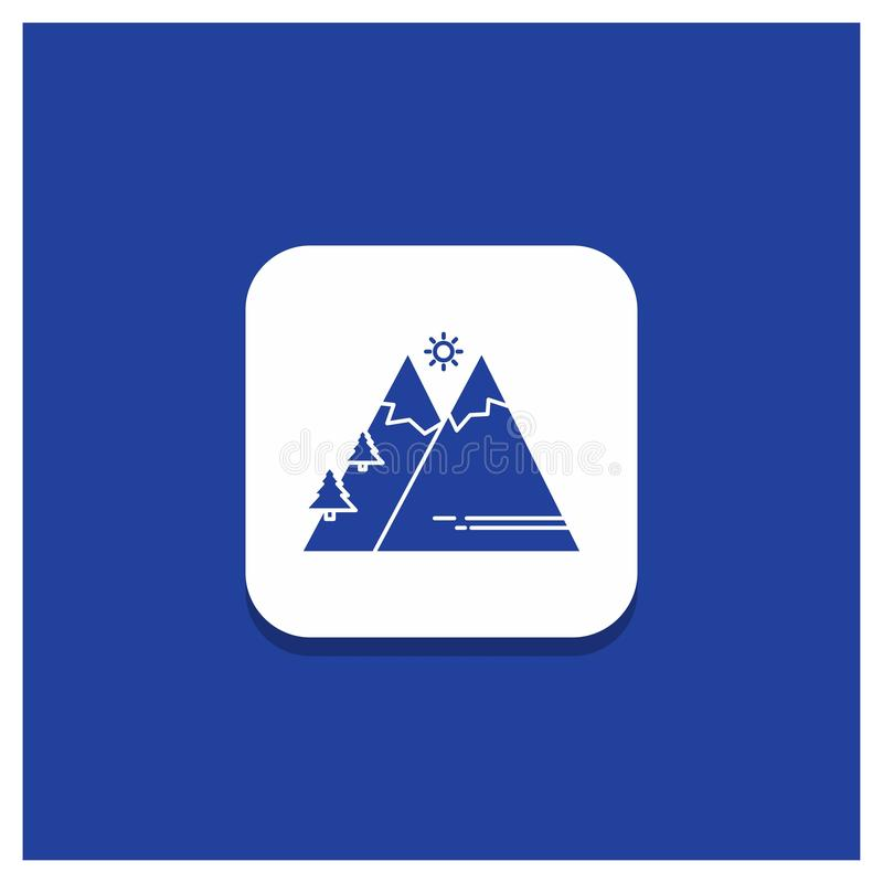 Blue Round Button for Mountains, Nature, Outdoor, Sun, Hiking Glyph icon vector illustration