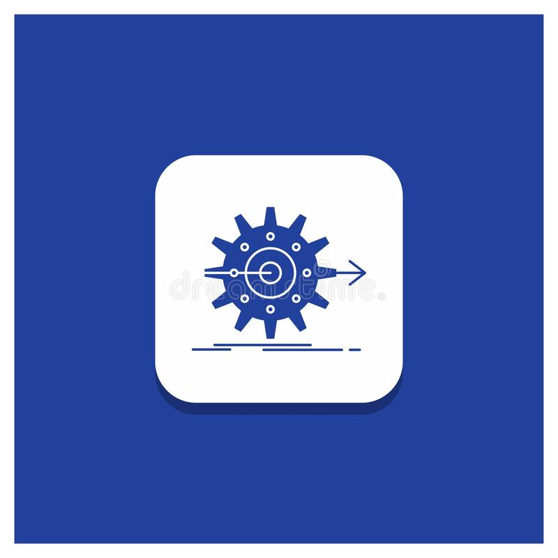 Blue Round Button for performance, progress, work, setting, gear Glyph icon vector illustration