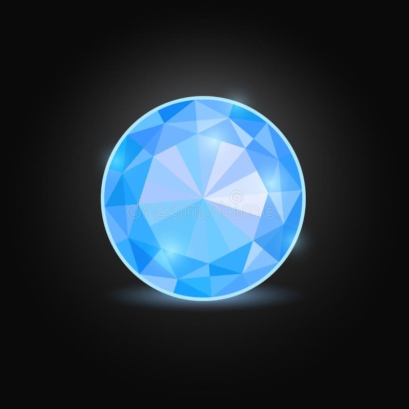 Blue Round Emerald. Shiny Blue Round Gem Stone Isolated on Black Backdrop vector illustration