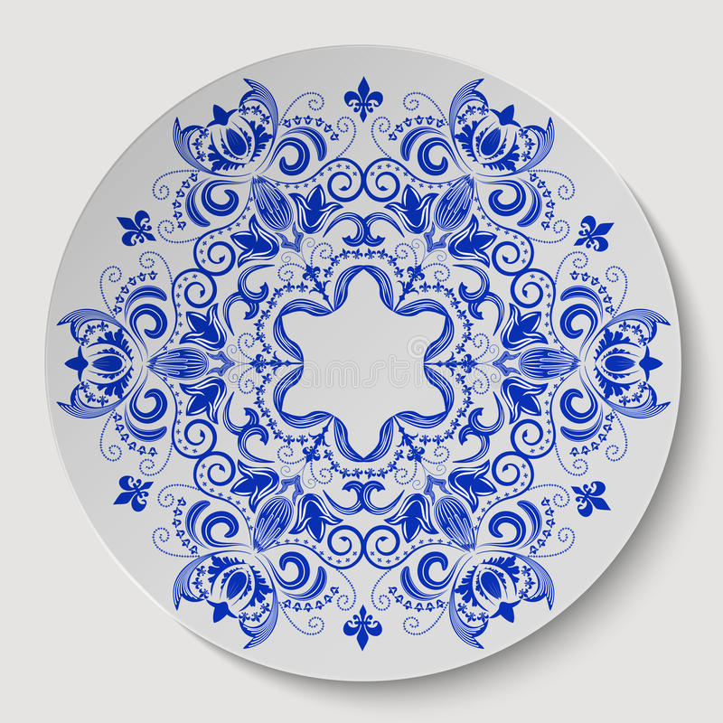 Blue round floral ornament. Pattern applied to the ceramic plate. Vector illustration royalty free illustration