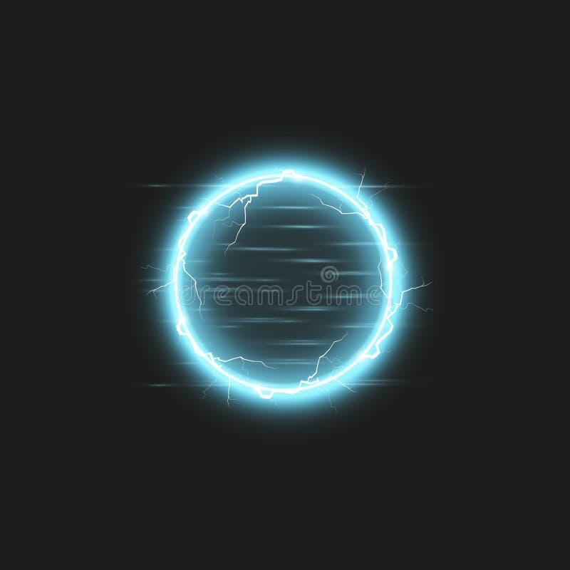 Blue round frame. Shining circle banner. Isolated on black transparent background. Vector illustration vector illustration