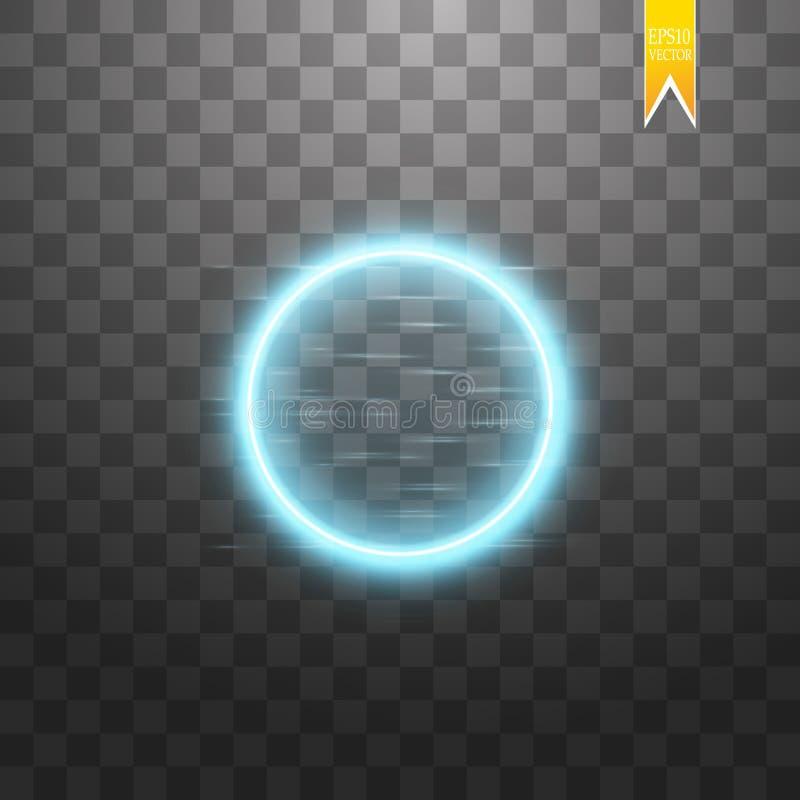 Blue round frame. Shining circle banner. Isolated on black transparent background. Vector illustration.  stock illustration