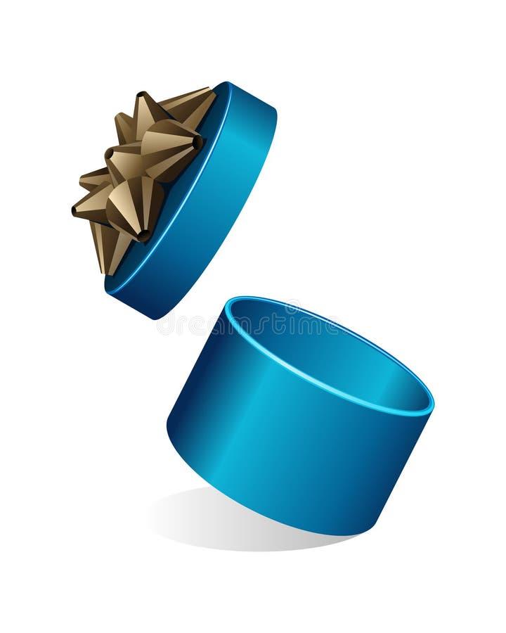 Blue Round Gift Gold Bow stock illustration