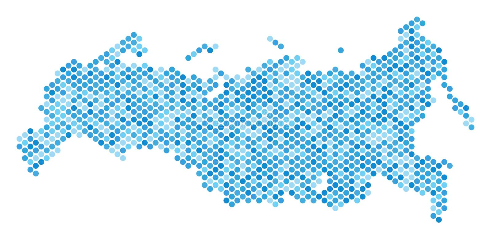 Blue Dotted Russia Map stock illustration