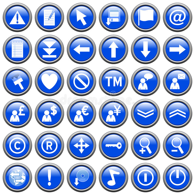 Blue Round Web Buttons [2]. 36 website and application round buttons isolated on white background. Each button is 750x750 pixels. Blue Round Web Buttons stock illustration