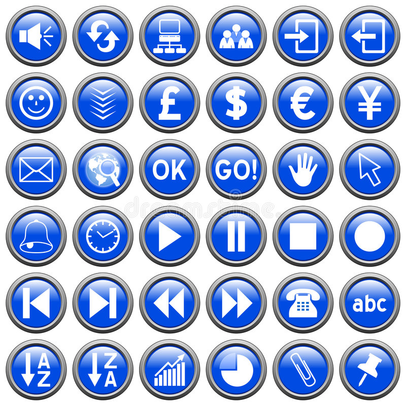 Download Blue Round Web Buttons [3] stock illustration. Image of icons - 6078487