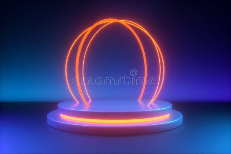 Blue round yellow neon light, empty postament vector illustration