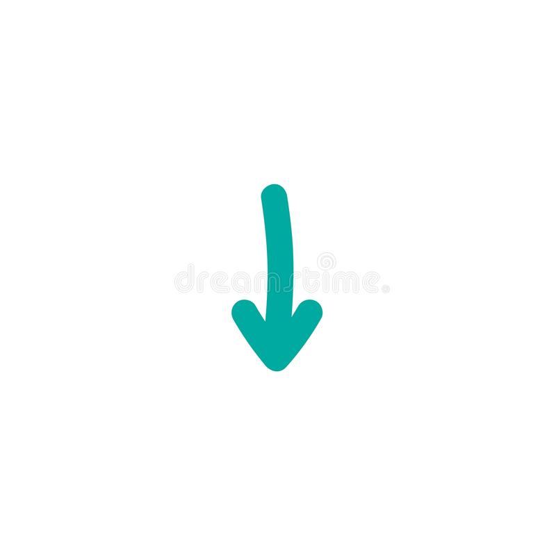 Blue rounded hand drawn cartoon arrow down. flat icon. Download sign. royalty free illustration