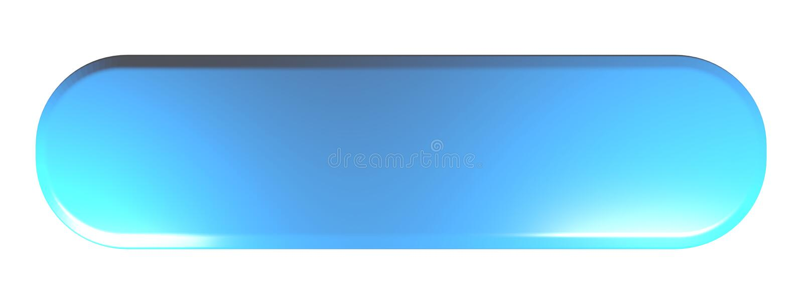 Blue rounded rectangle push button Empty - 3D rendering illustration royalty free illustration
