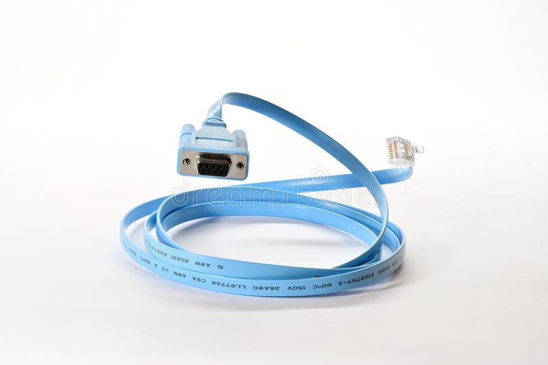 Blue Router console cable floating in air royalty free stock photo
