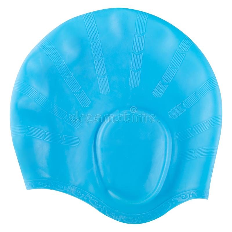 Blue rubber swimming cap for the pool or for the sea, on a white background, isolate. Blue rubber swimming cap for the pool or for the sea, on a white background royalty free stock images