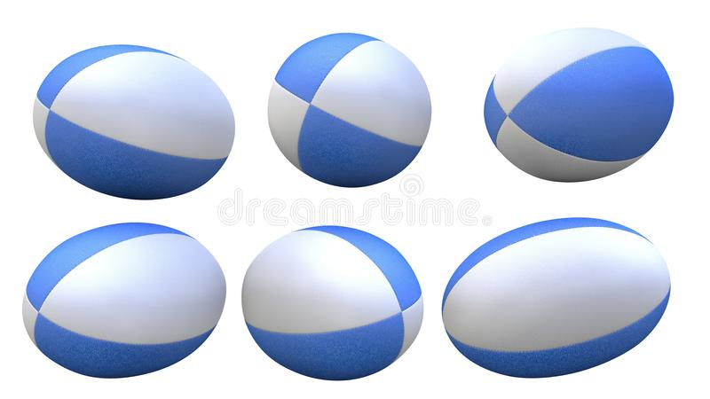 Blue rugby ball. 3D blue rugby ball X6 stock illustration