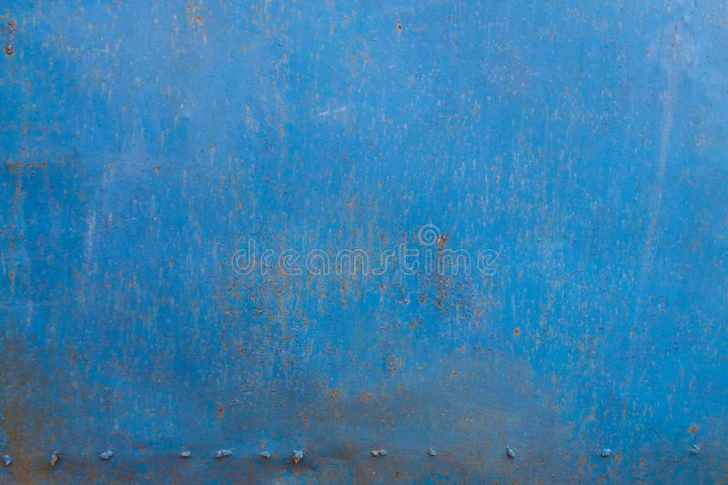 Blue rusty metal texture. Grunge background royalty free stock photo
