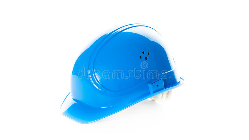 Blue safety helmet isolated on white background. engineering. Construction worker equipment object stock photo