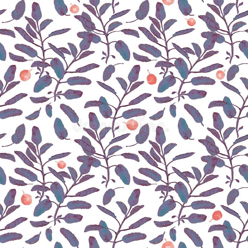 Blue sage branch and red berries seamless surface pattern isolated on white background. Botanical modern watercolor. Blue sage branch and red berries seamless stock illustration