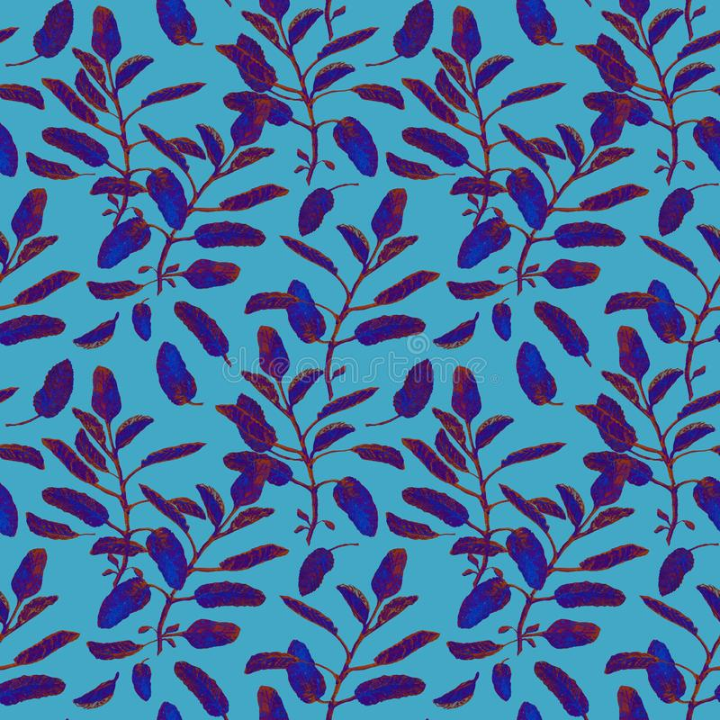 Blue sage branches and leaves seamless surface pattern isolated on pastel blue background. Botanical modern watercolor. Blue sage branch seamless surface pattern stock illustration