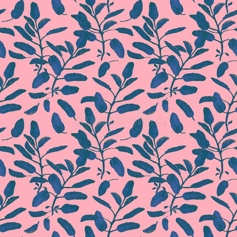 Blue sage branches and leaves seamless surface pattern isolated on pastel pink background. Botanical modern watercolor. Blue sage branch seamless surface pattern stock illustration
