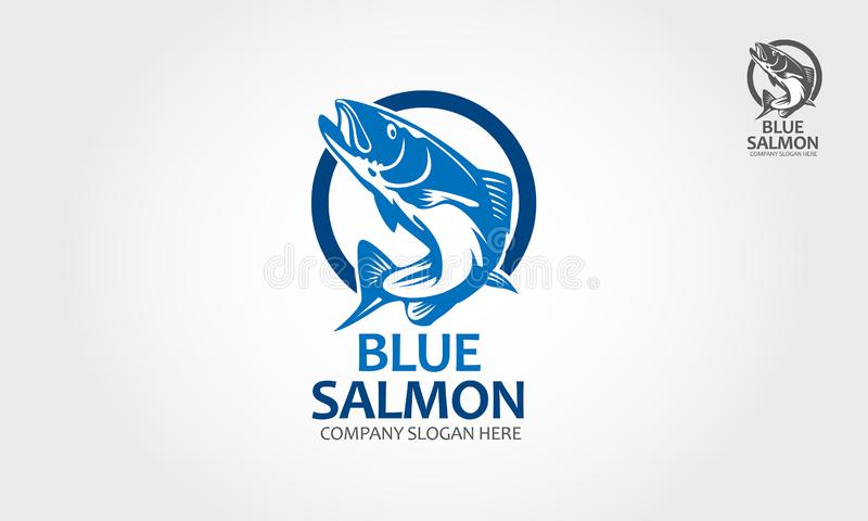Blue Salmon Vector Logo Template stock image