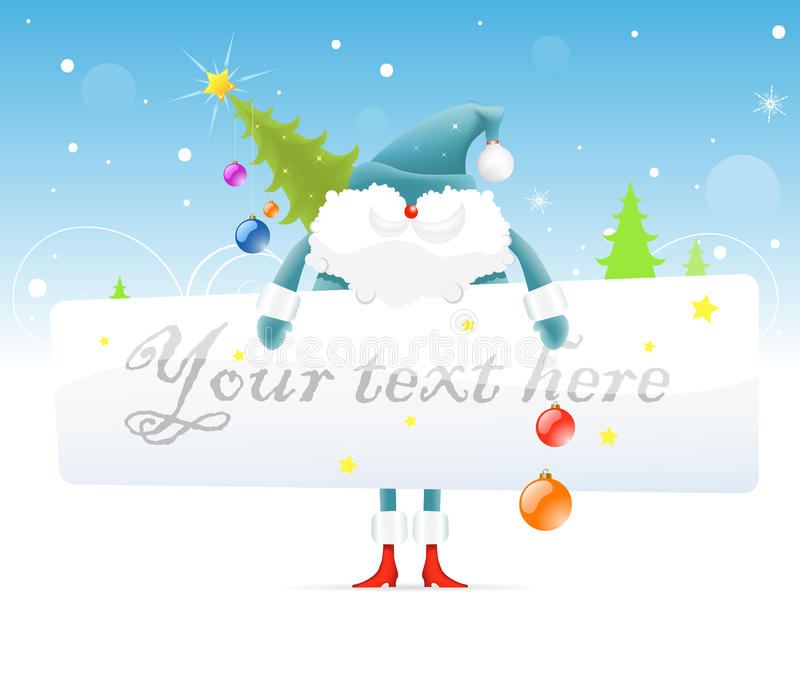 Blue Santa Claus with Christmas tree vector illustration