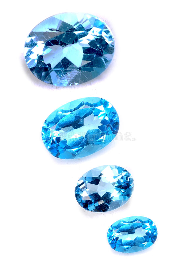 Blue saphires. Isolated on white background stock images