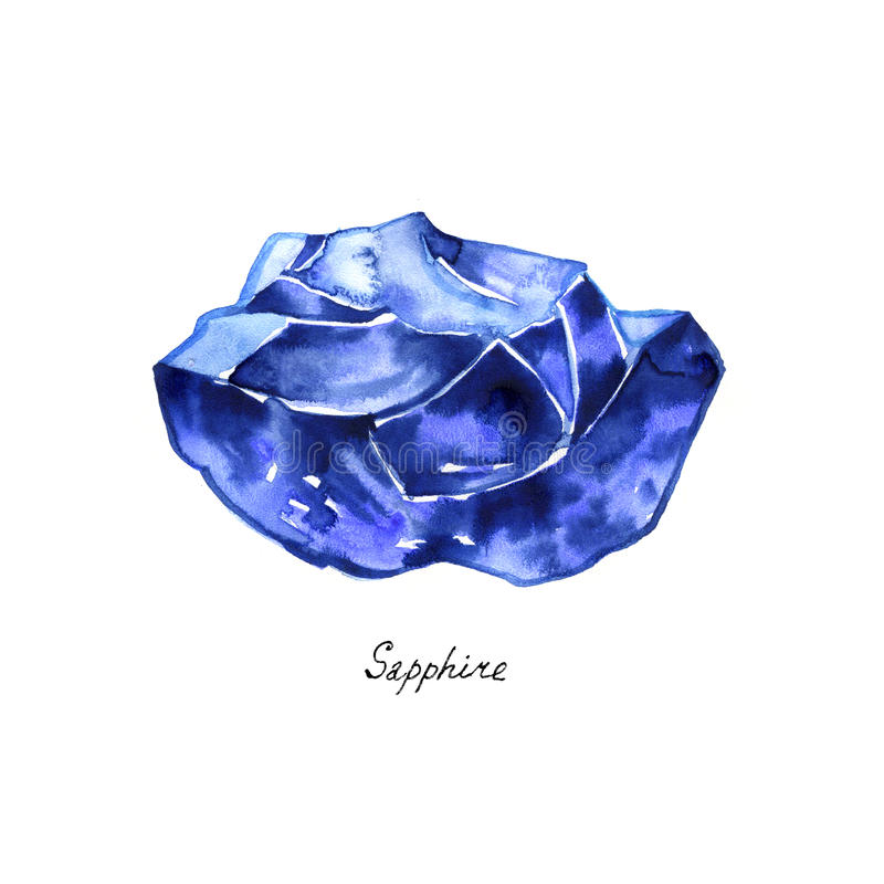 Blue sapphire rough gemstone isolated watercolor. Crystal mineral illustration on white background. stock illustration