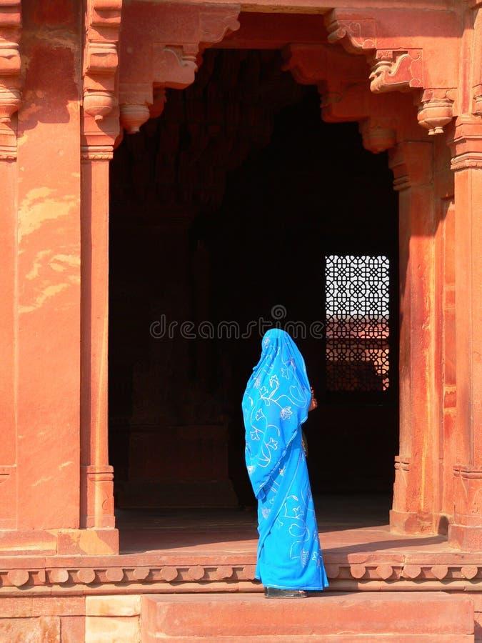 Blue sari entrance royalty free stock photo