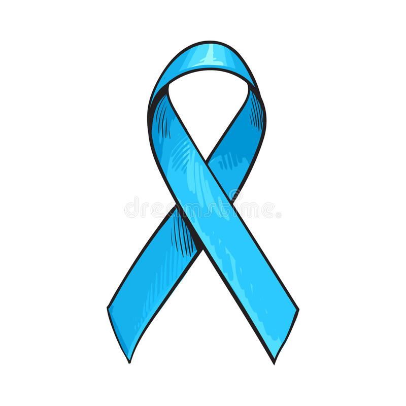Blue satin ribbon, prostate cancer awareness symbol, sketch vector illustration. Isolated on white background. Hand drawn blue ribbon, prostate cancer awareness stock illustration