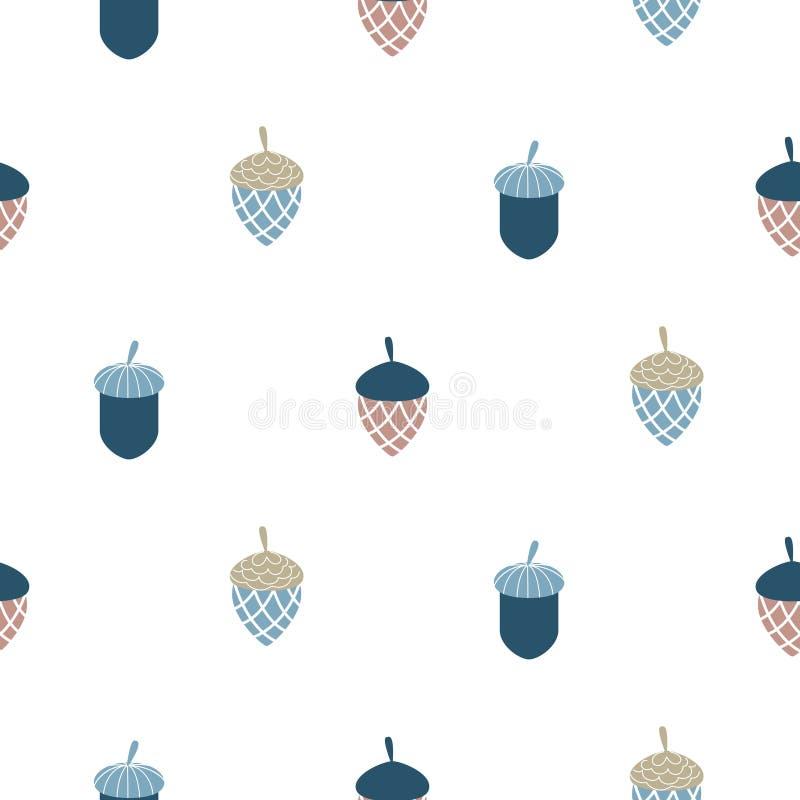 Blue scandi acorn simple seamless vector pattern. vector illustration