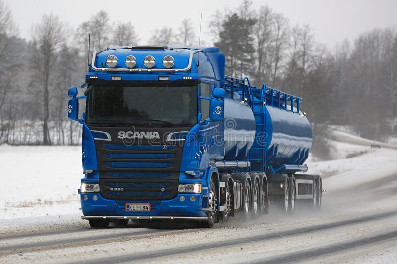 Souvent Blue Scania R580 Euro 6 Tank Truck In Winter Editorial Stock Photo  CX65