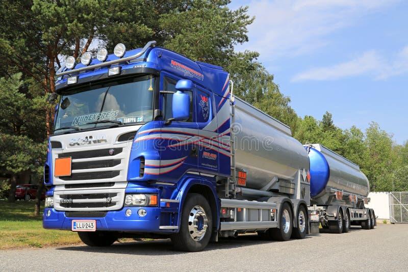 Blue Scania Tanker Truck for Transporting Chemicals. TURKU, FINLAND – JULY 13, 2014: Scania R500 V8 tank truck for chemical transport. European chemicals